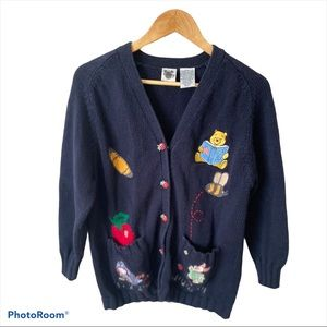 Disney Pooh Chunky Knit Blue Cardigan Sweater S